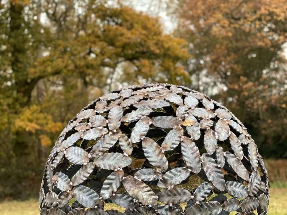 Close Up Of Beech Leaf Sphere Sculpture