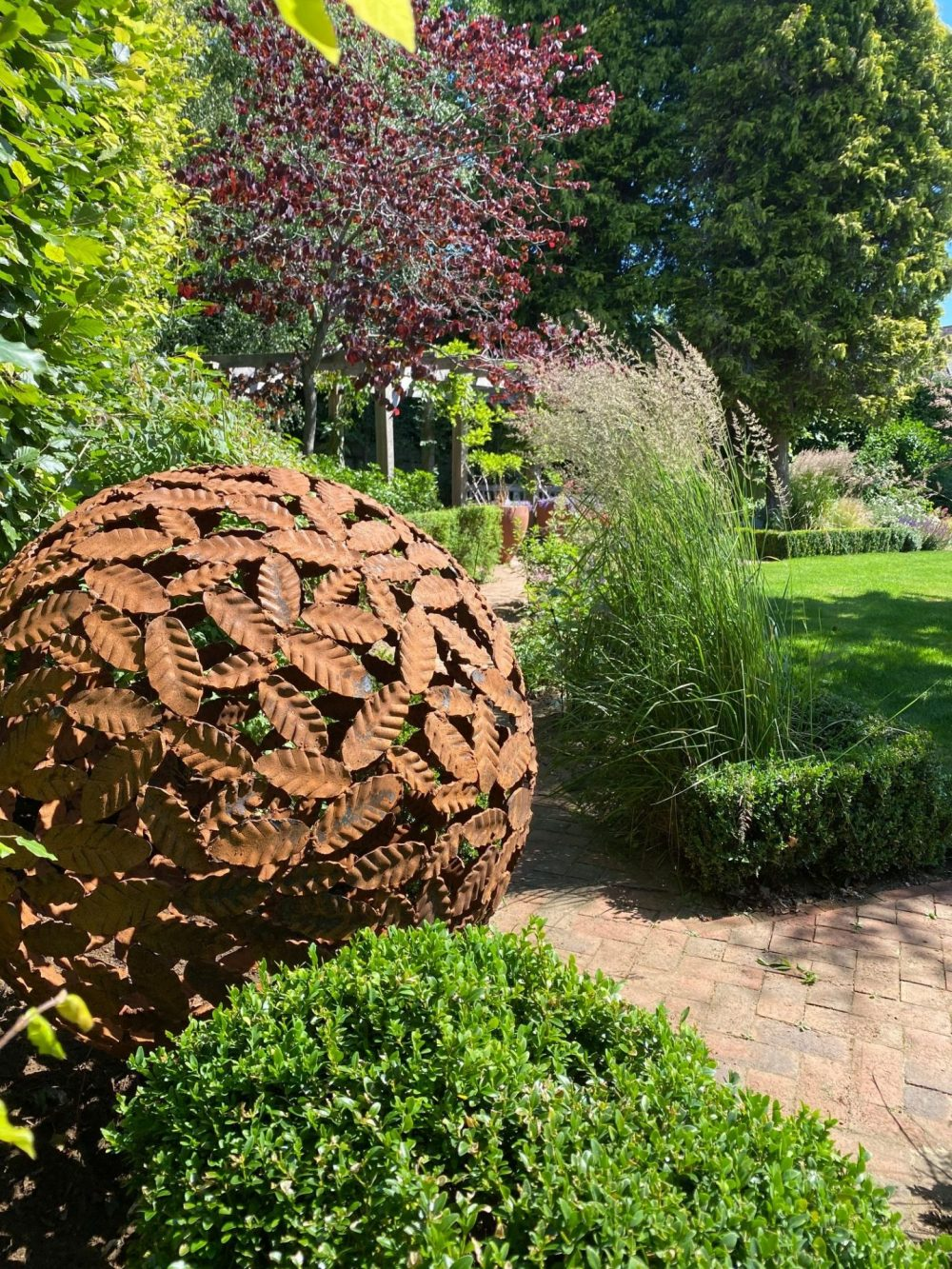 Beech Leaf Sphere Sculpture in Woodland