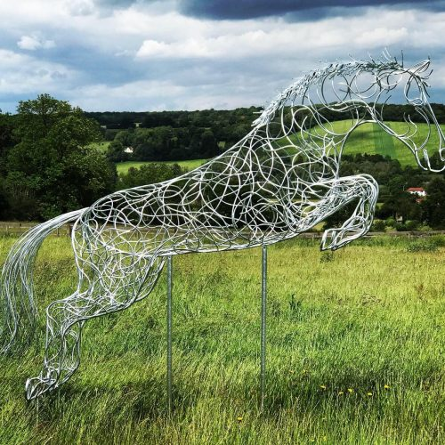Large Silver Blue Memory Jumping Horse