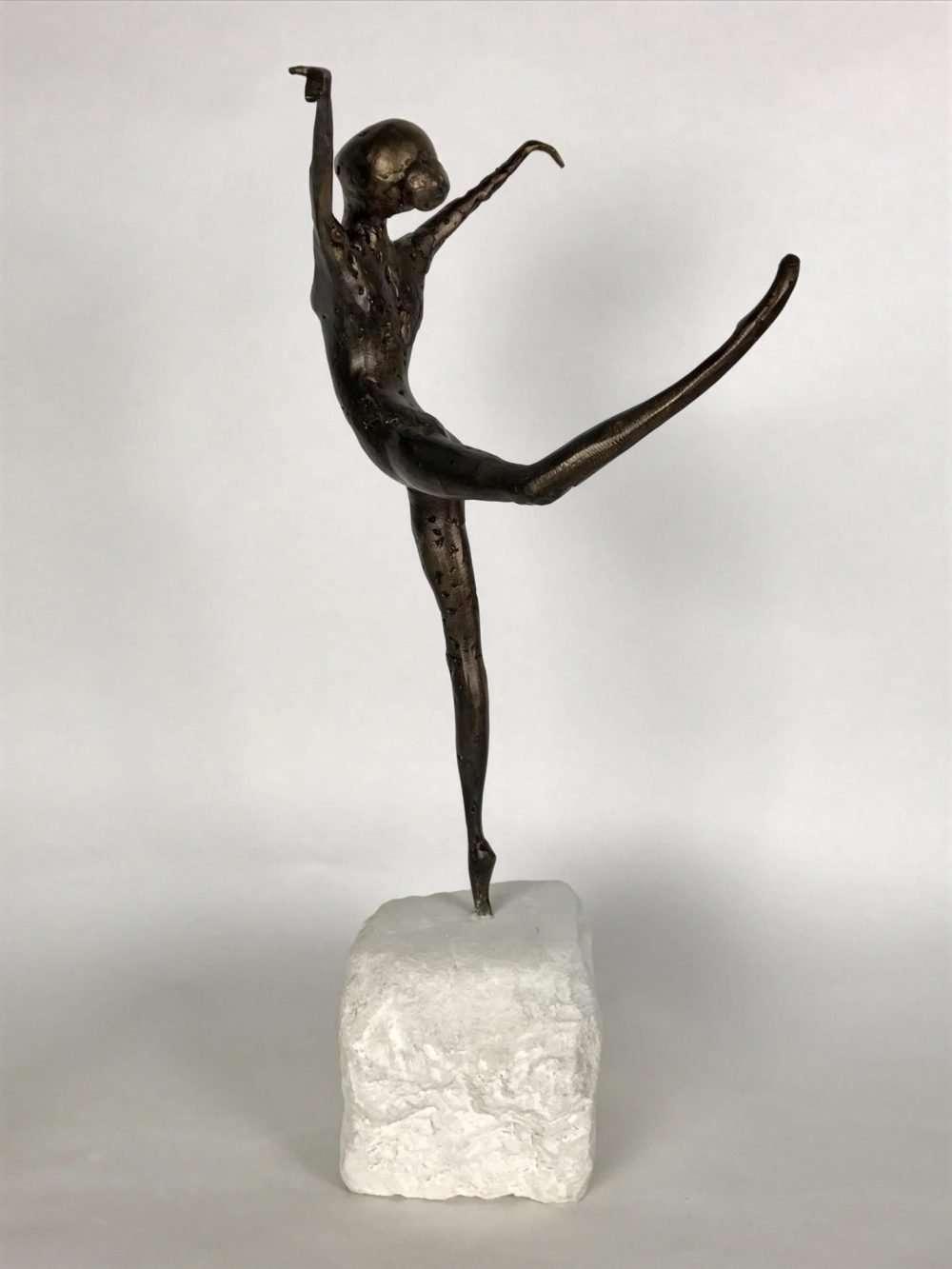 Bronze Coryphee Sculpture on white marble plinth
