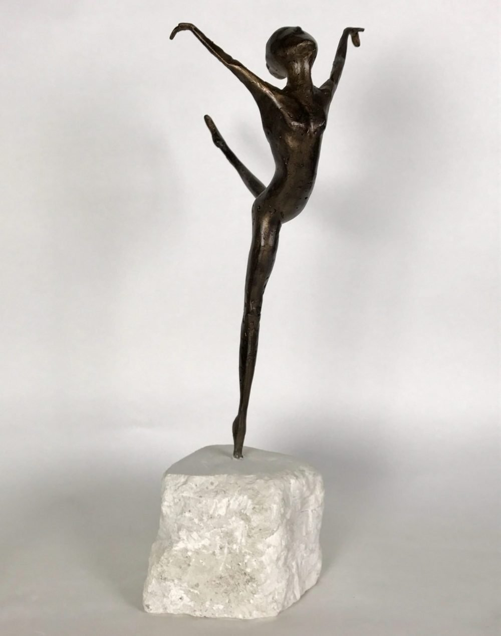 Bronze Dancing Sculpture On Marble Plinth