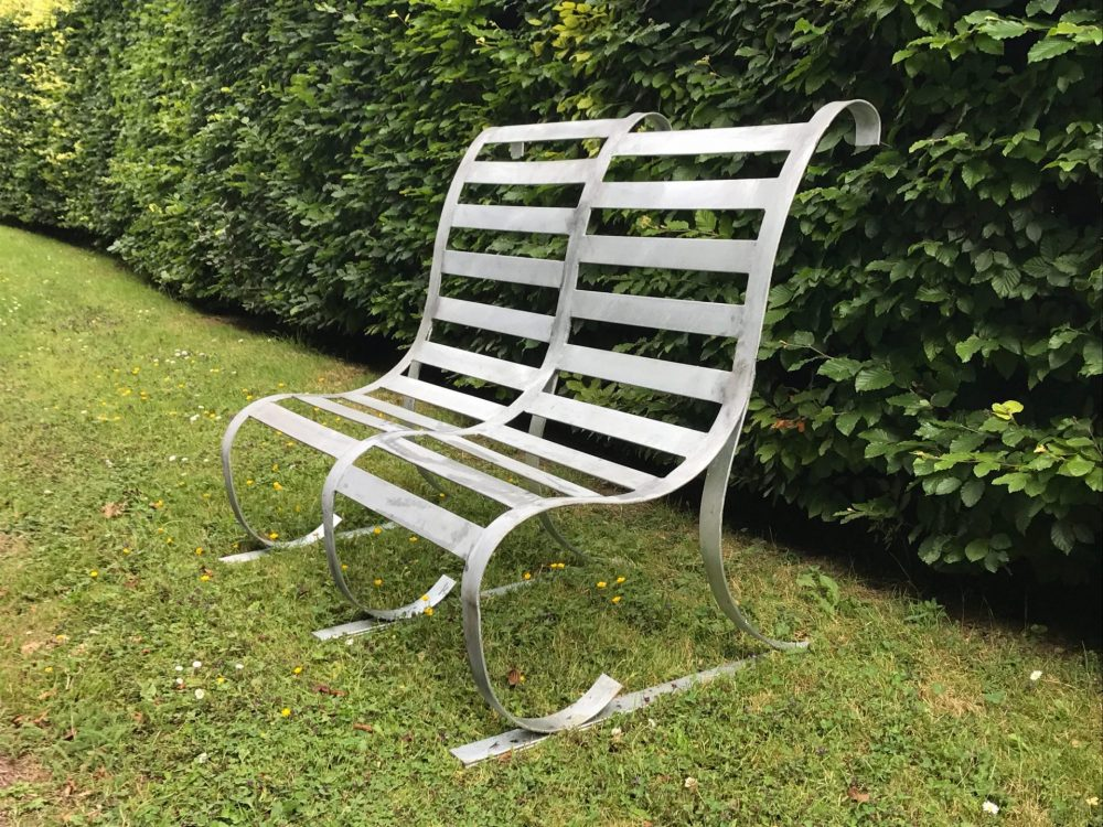 CONTEMPORARY HANDMADE METAL BENCH SIDE VIEW