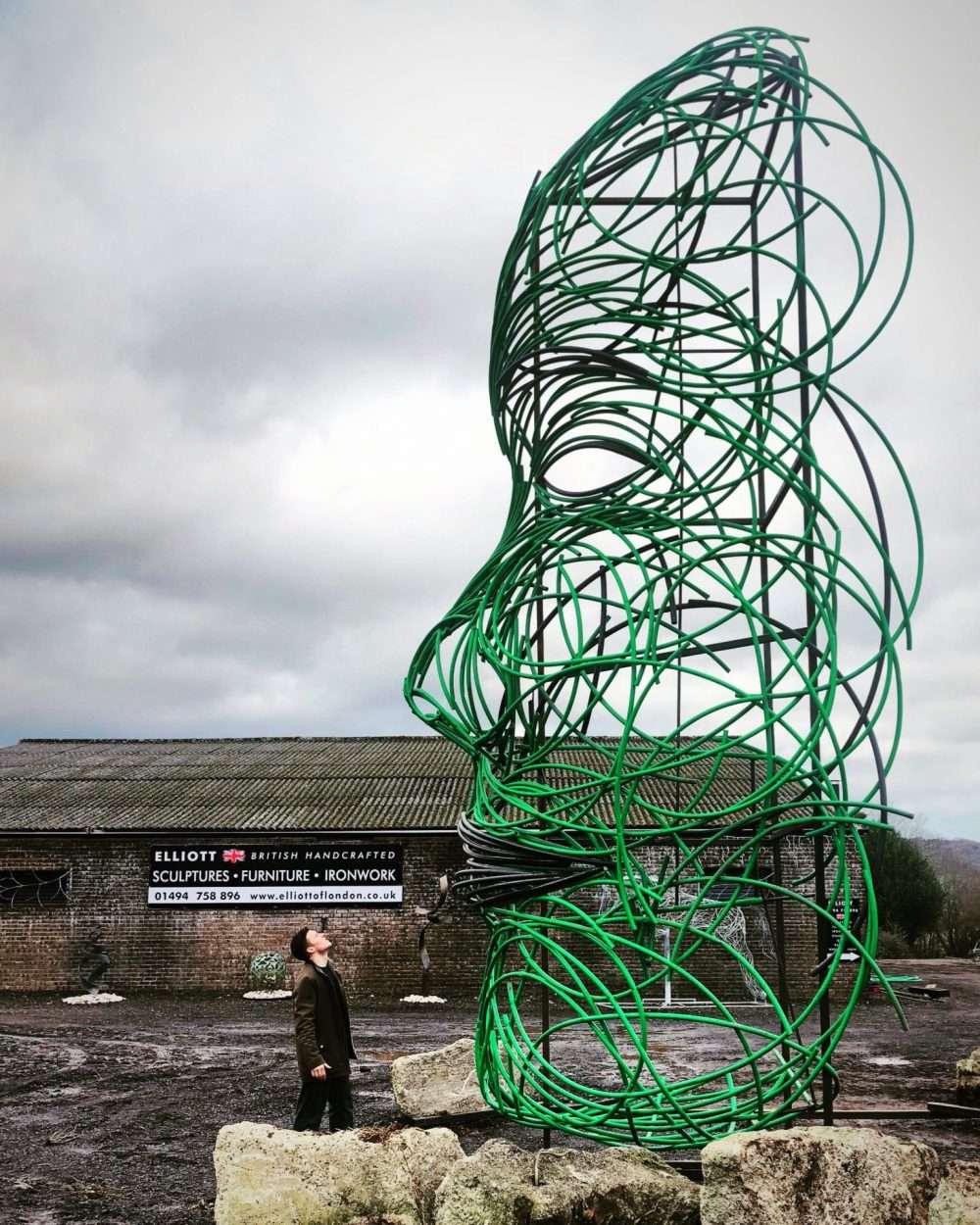 Facing Fears Sculpture In Green