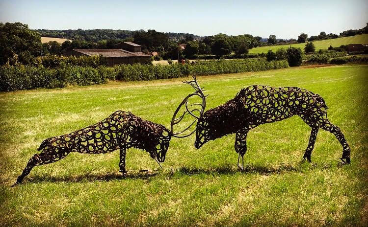 Horseshoe Fighting Stags Sculpture