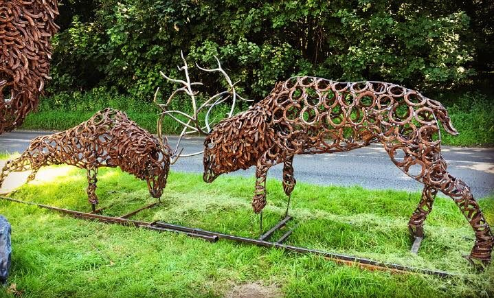 Rustic Fighting Stags Sculpture
