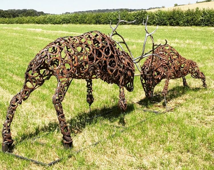 Rustic Fighting Stags