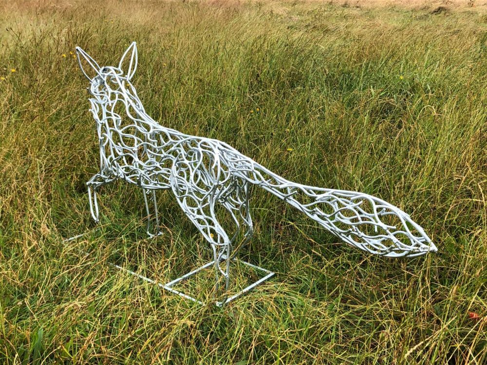 Back View Of Silver Galvanised Fox