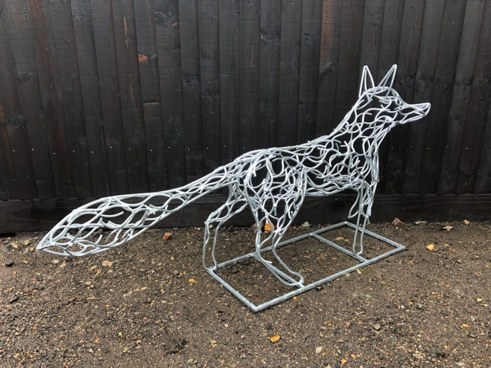 Side View of Galvanised Fox Sculpture