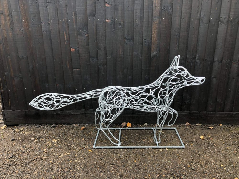 Silver Galvanised Fox Sculpture