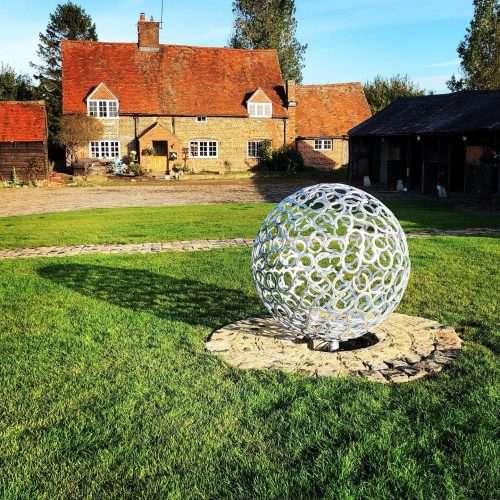 Silver Horseshoe Sphere Sculpture Design