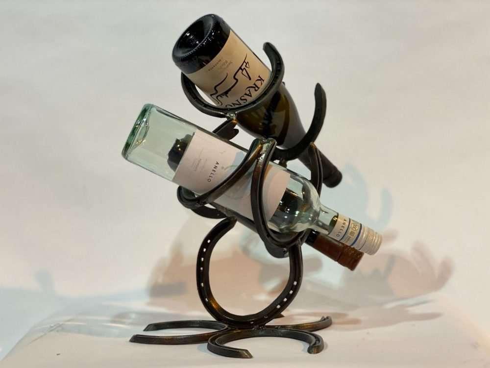 Horseshoe Bottle Wine Rack With Wine Bottles