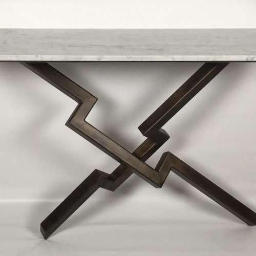 White Marble Lien Croix Console Table Sculpture