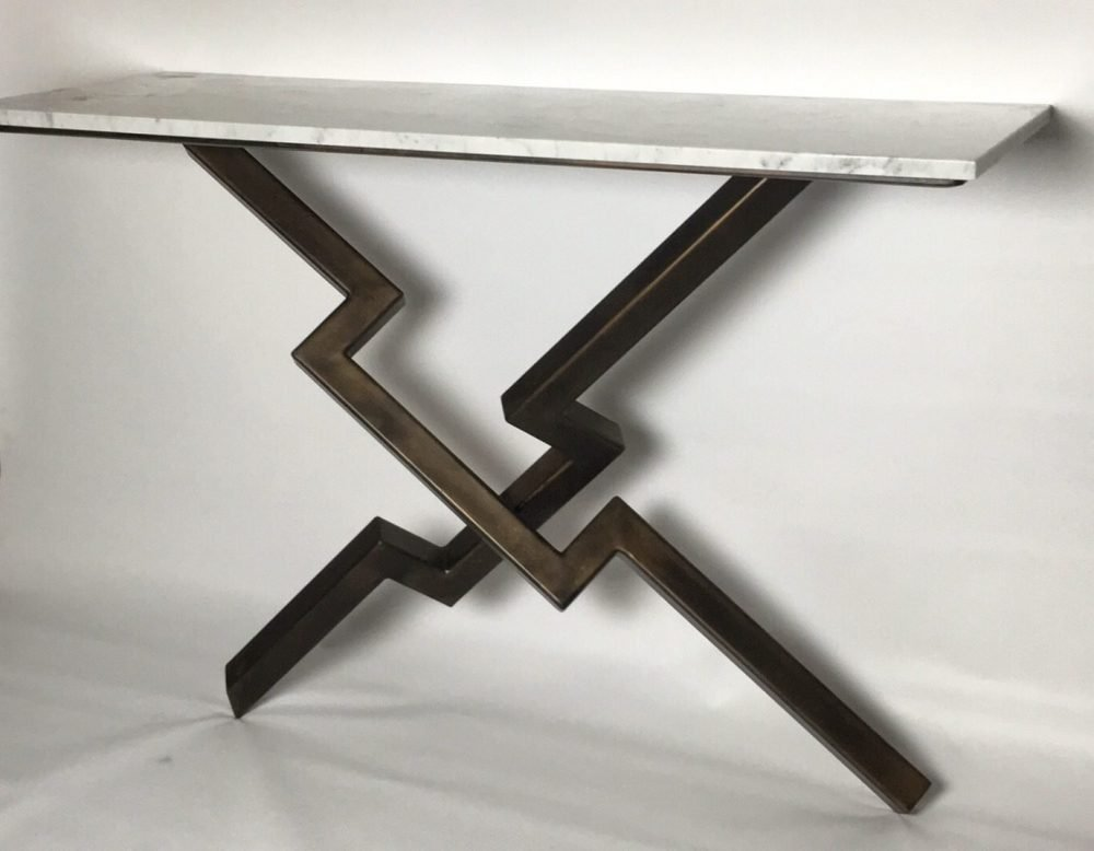 Wide View Of Lien Croix Console Table In White