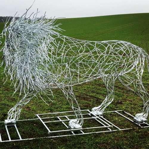 Silver Galvanised Lion