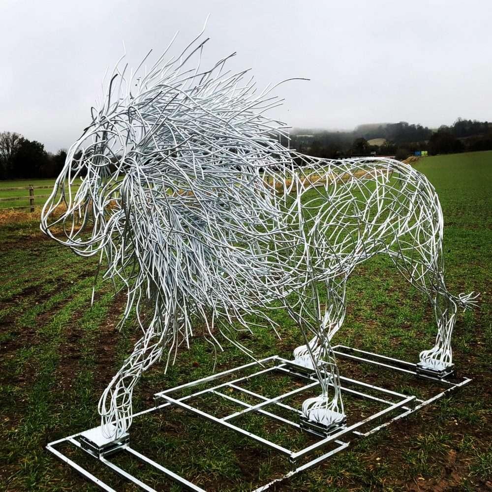 SILVER LION SCULPTURE gallery Elliott of London
