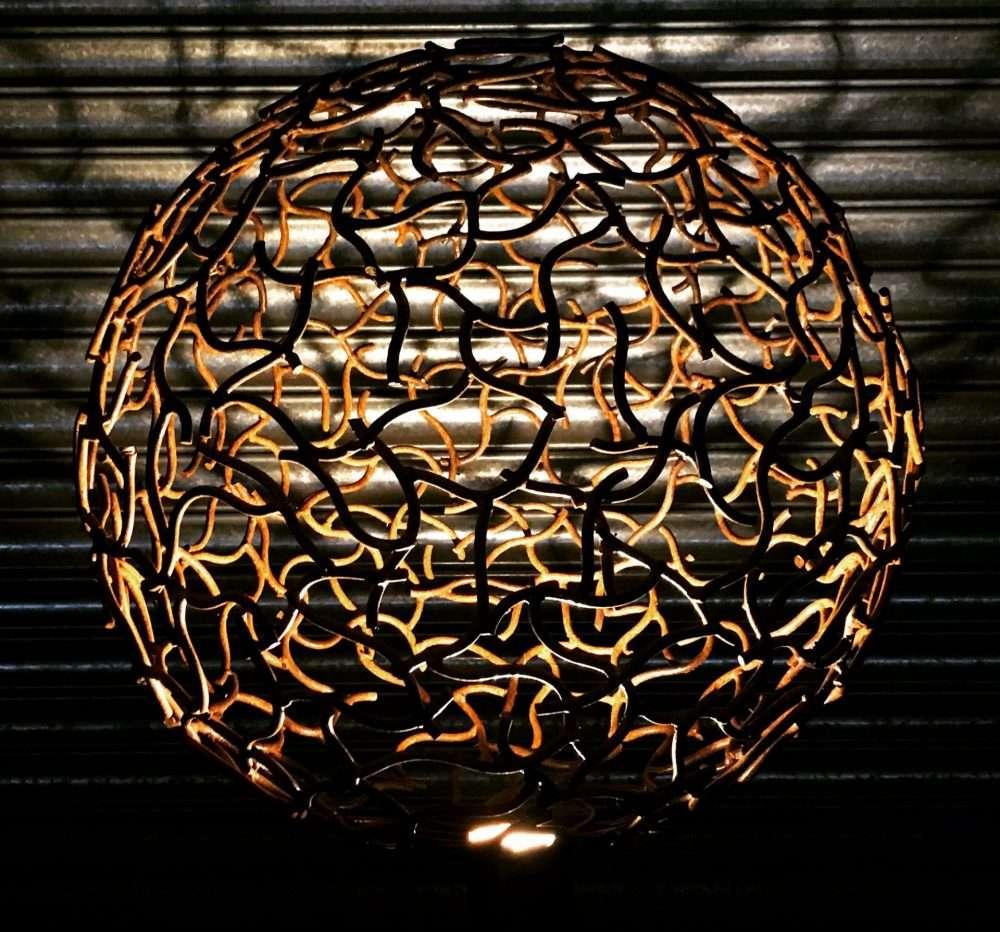 Rustic Sphere Sculpture Lit Up