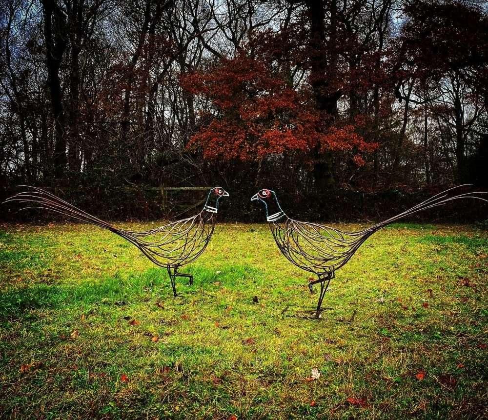 Two Pheasant Sculptures