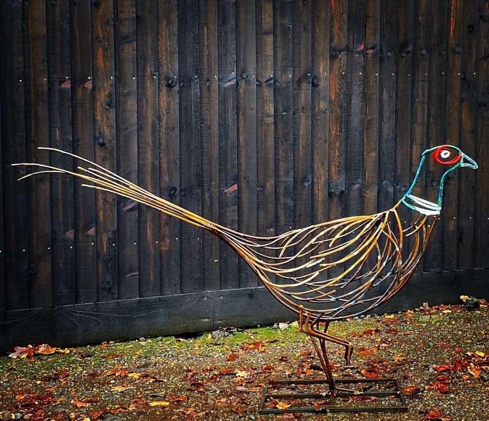 Coloured Pheasant Sculpture