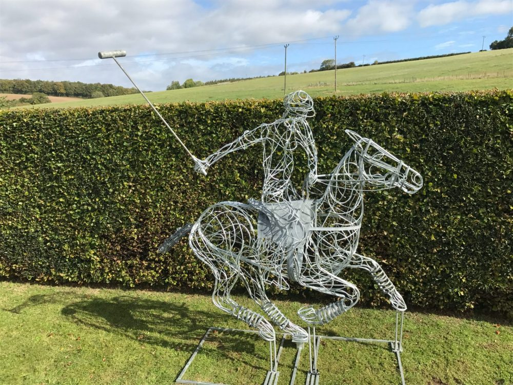 Galvanised Silver Polo Pony Sculpture