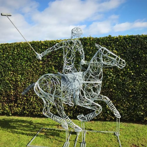 Large Silver Polo Pony Sculpture
