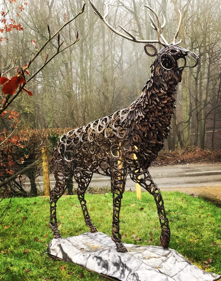 Antlers of Prancing Stag Sculpture