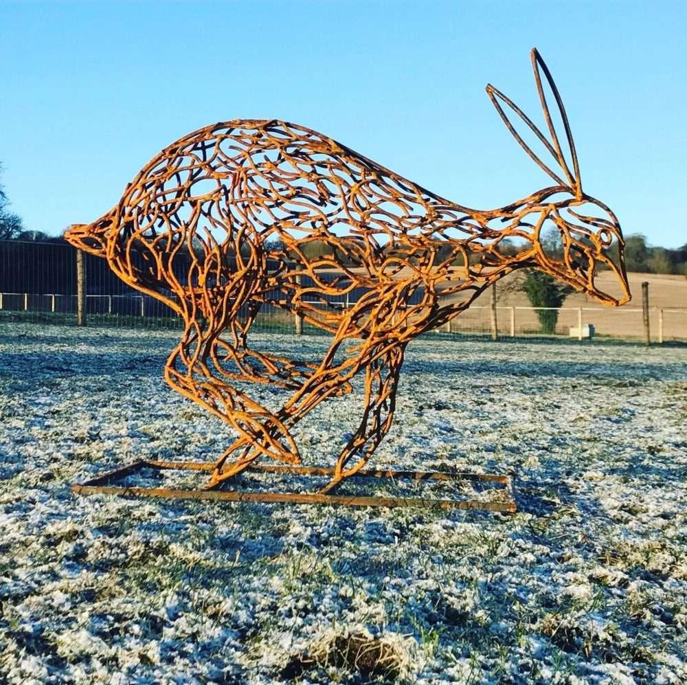 Rustic Brass Running Hare Sculpture
