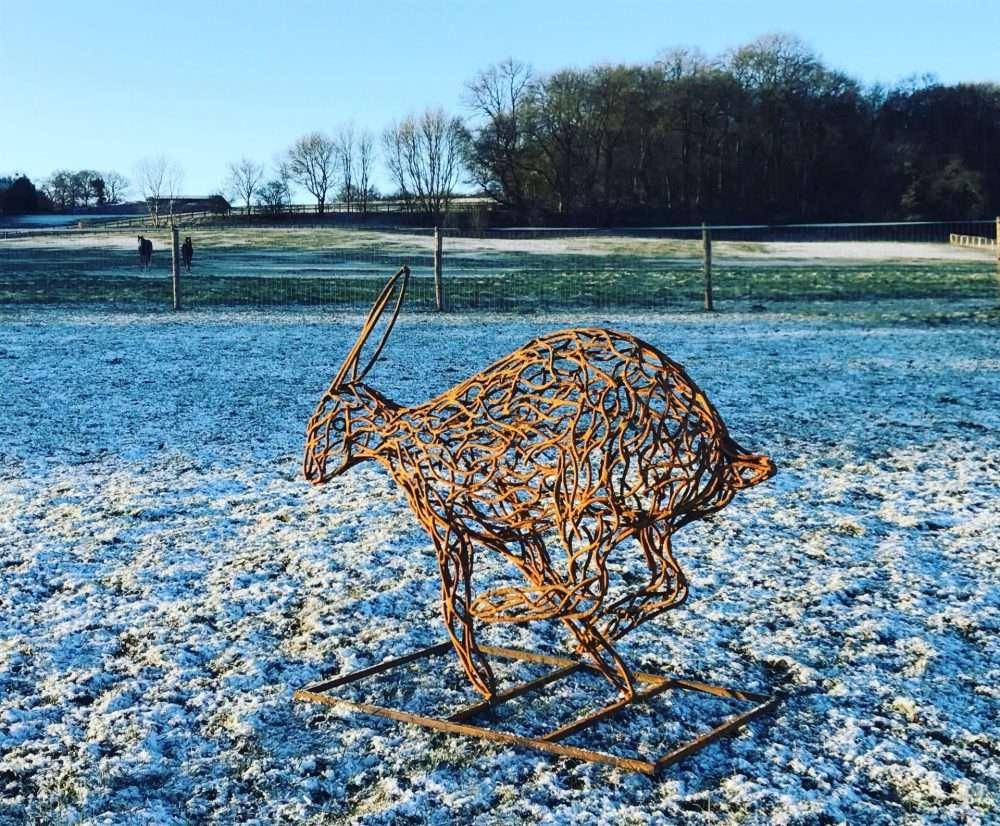 Rustic Running Hare Sculpture
