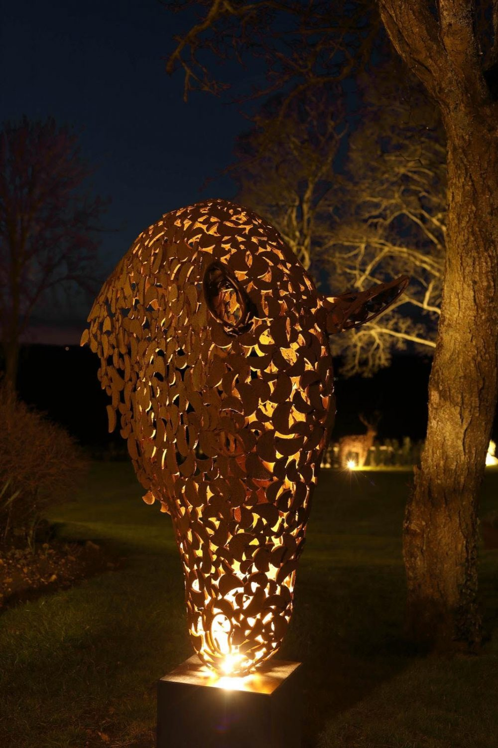 Rustic Horse Head With Lights