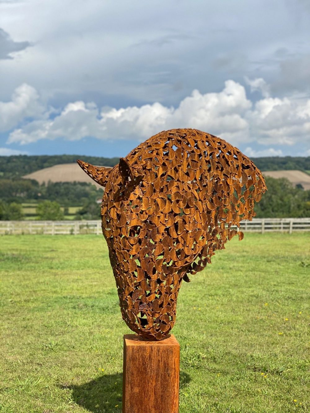 Large Rustic Horse Head Sculpture
