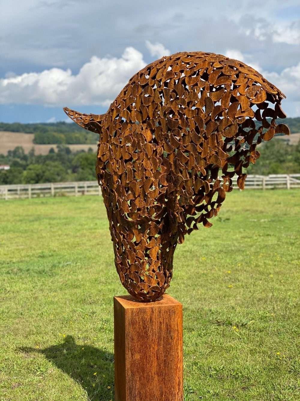 Rustic Horse Head On Wooden Plinth