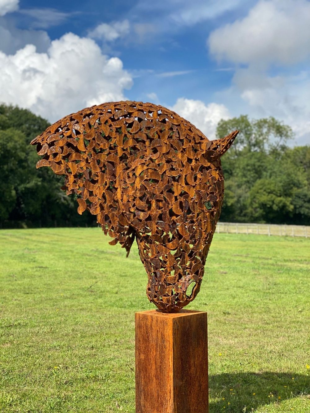 Rustic Patina Horse Head On A Sunny Day