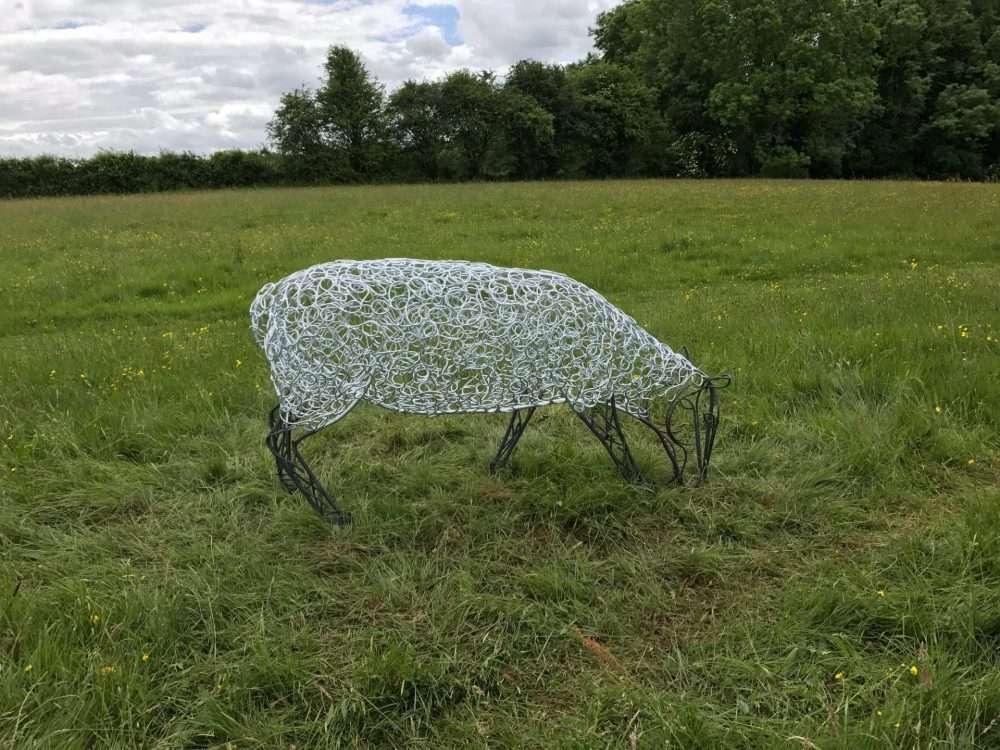 Silver Sheep Sculpture