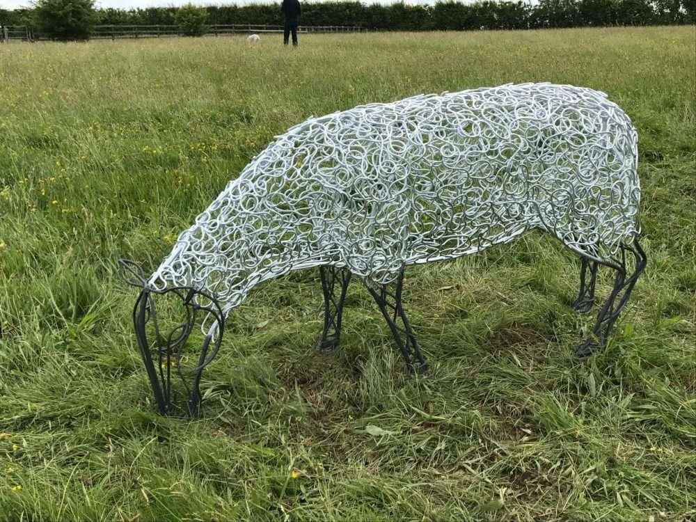 Black Face Sheep Sculpture Grazing
