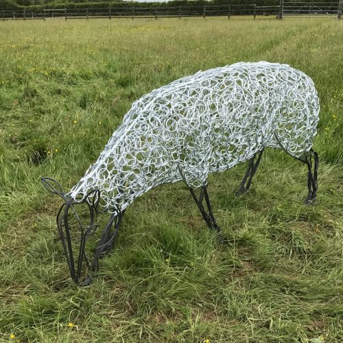Large Silver Sheep Sculpture