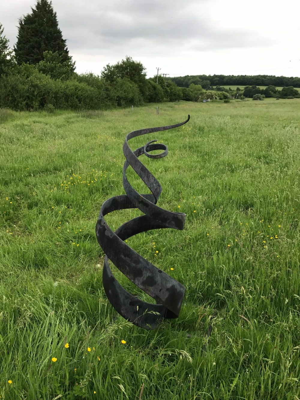 Large Black Spiral Abstract Sculpture