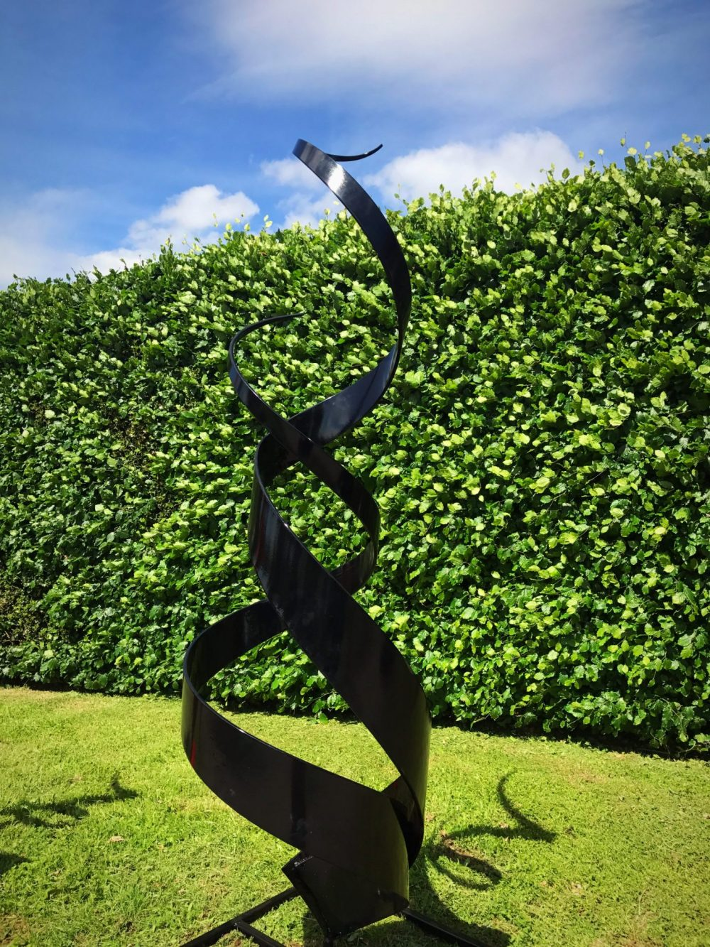 Large Shiny Black Spiral Abstract Sculpture