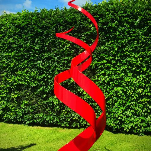 Shiny Red Spiral Abstract Sculpture