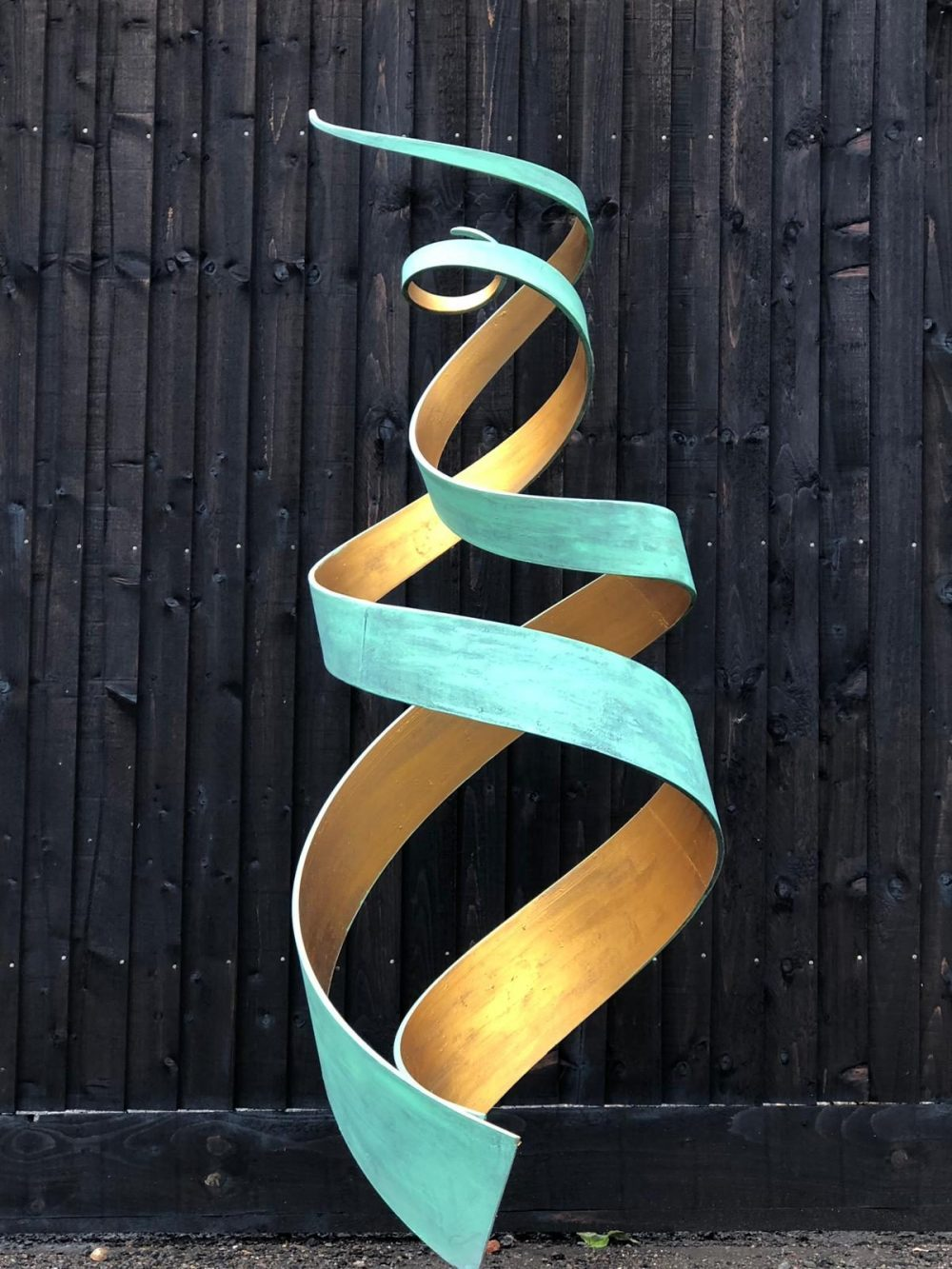 Large Green And Gold Spiral Abstract Sculpture