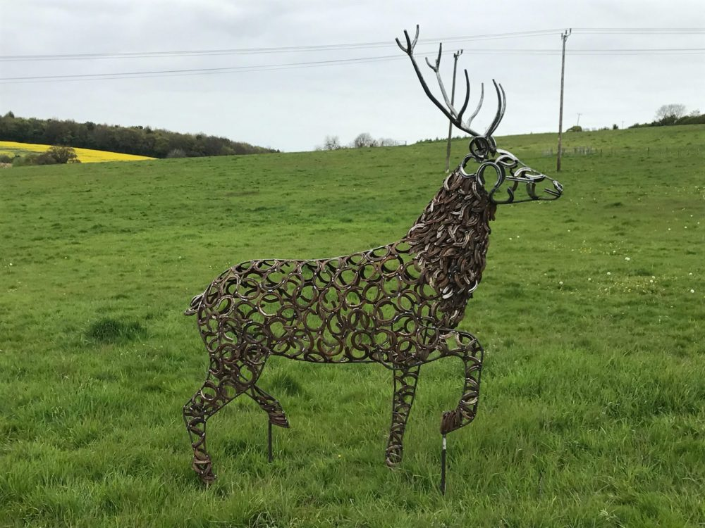 Silver Horseshoe Strutting Stag Sculpture