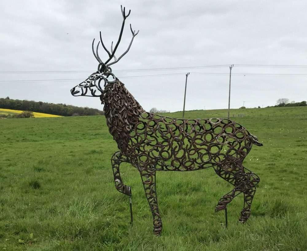 Horseshoe Strutting Stag Sculpture