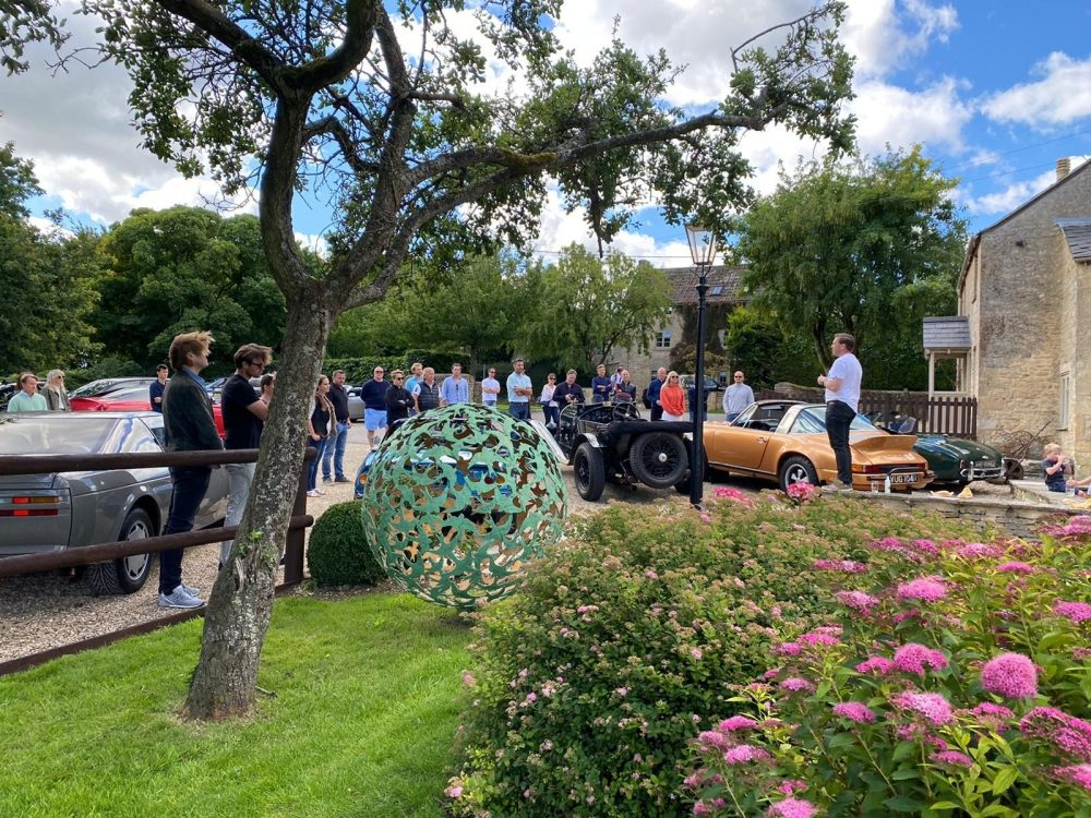 Swift Sphere Sculpture surrounded by spectators