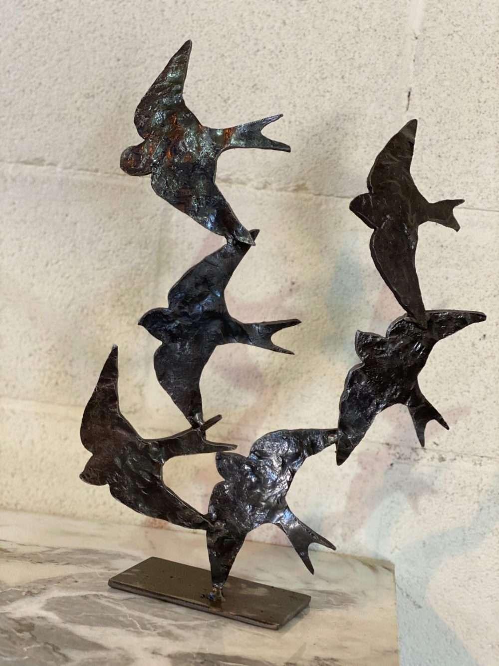 Swifts in Flight Black Sculpture