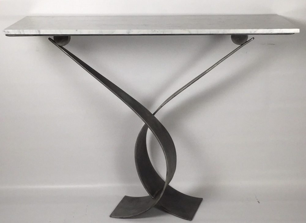 Flat White Vagues Console Table