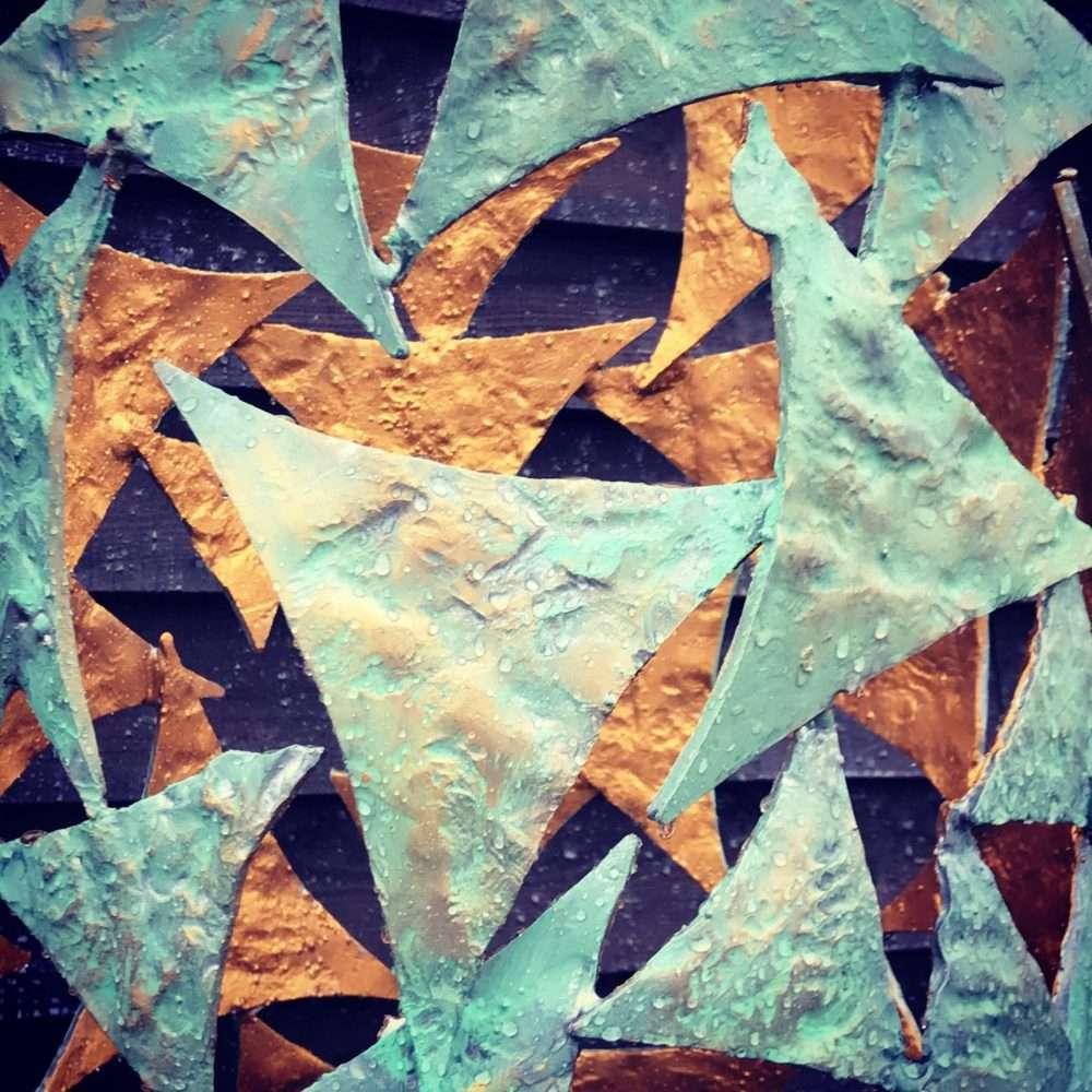 Triangles On Verdigris Gold Column Sculpture