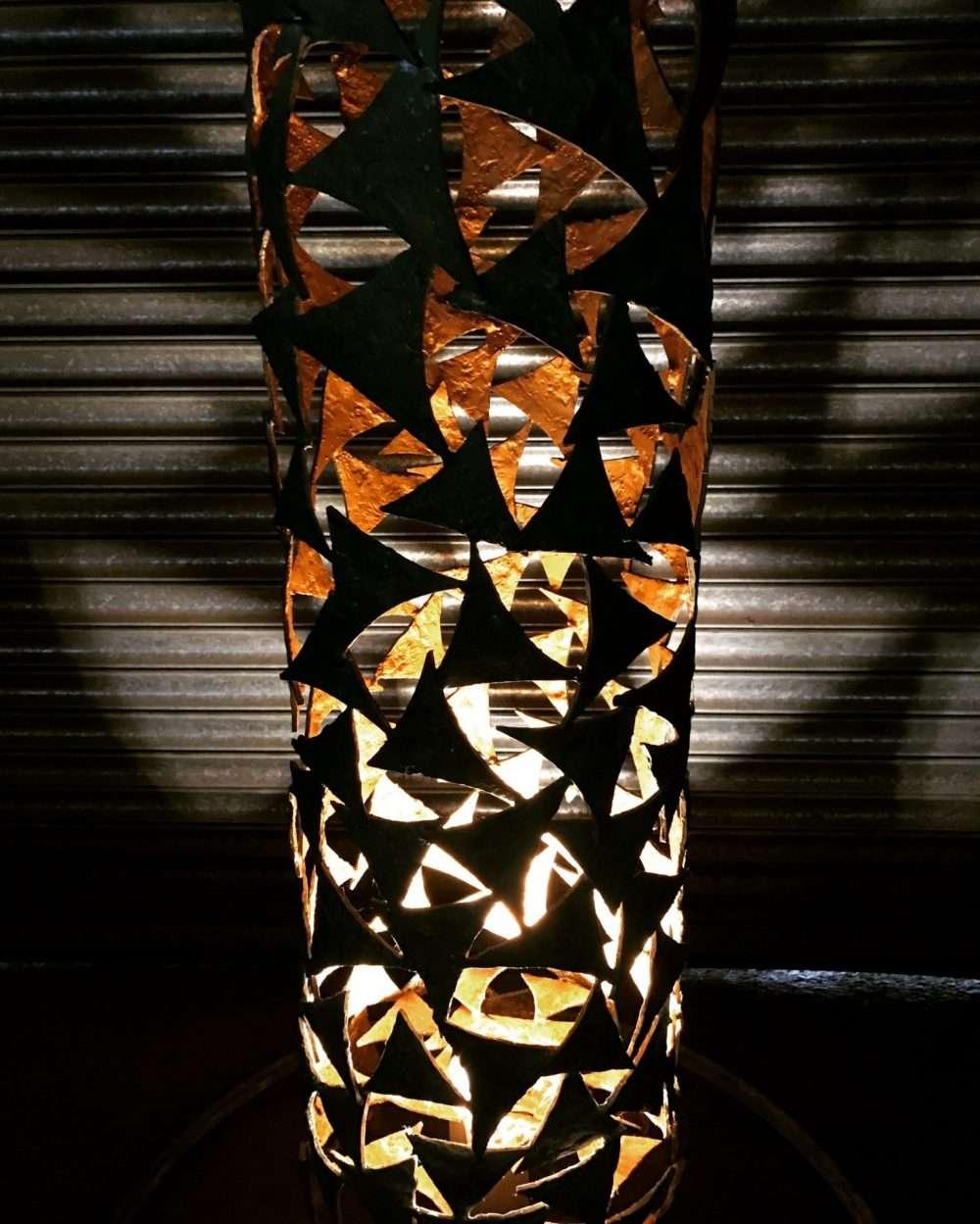 Verdigris Gold Column Sculpture