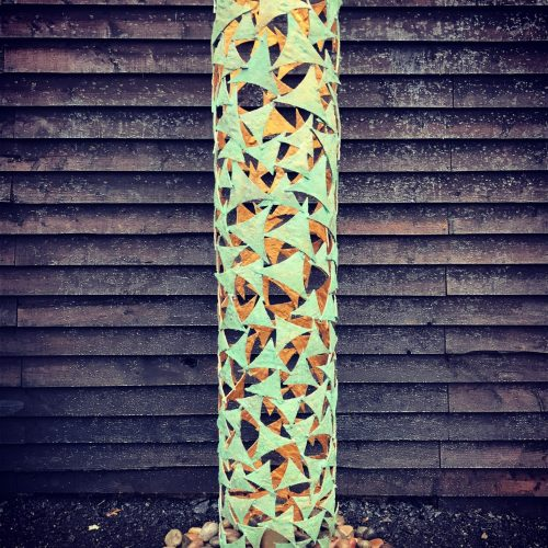 Verdigris, Gold & Stone Column Sculpture