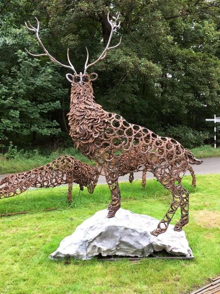 Rustic Horseshoe Stag Sculpture