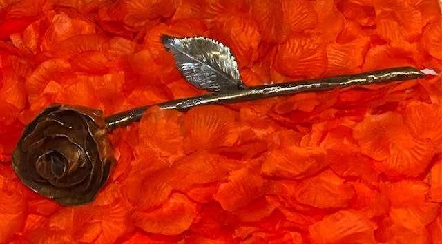 Handmade Copper Rose Sculpture