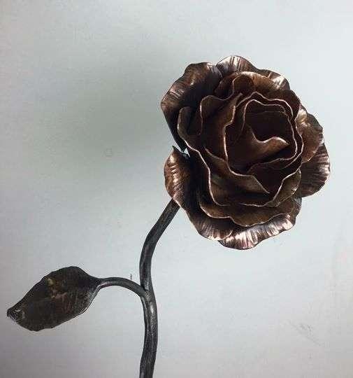 Copper Rose Sculpture