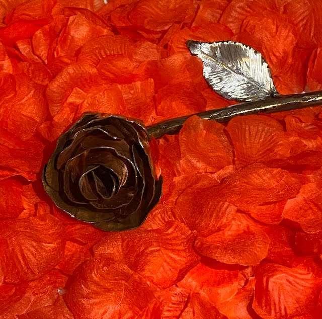 Close Up of Handmade Copper Rose